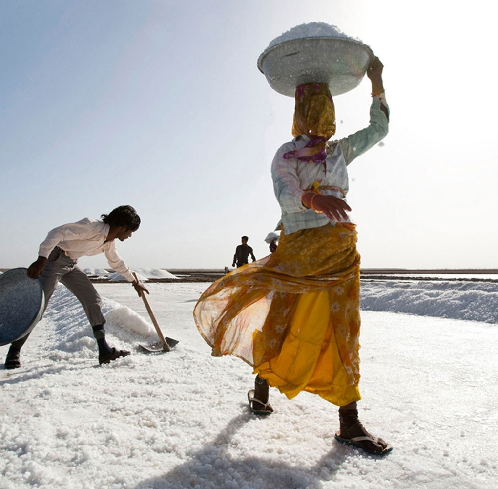 SABRAS | Working life can be harsh; with blinding conditions in summer reaching up to 50˚C this is work and home for the salt workers at the Little Rann of Kutch, Gujarat. Sabras collaborate to improve both conditions and livelihood for and with the workers.